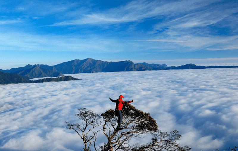 Bị mê mẩn bởi mây bao phủ kín các đỉnh núi, đồi